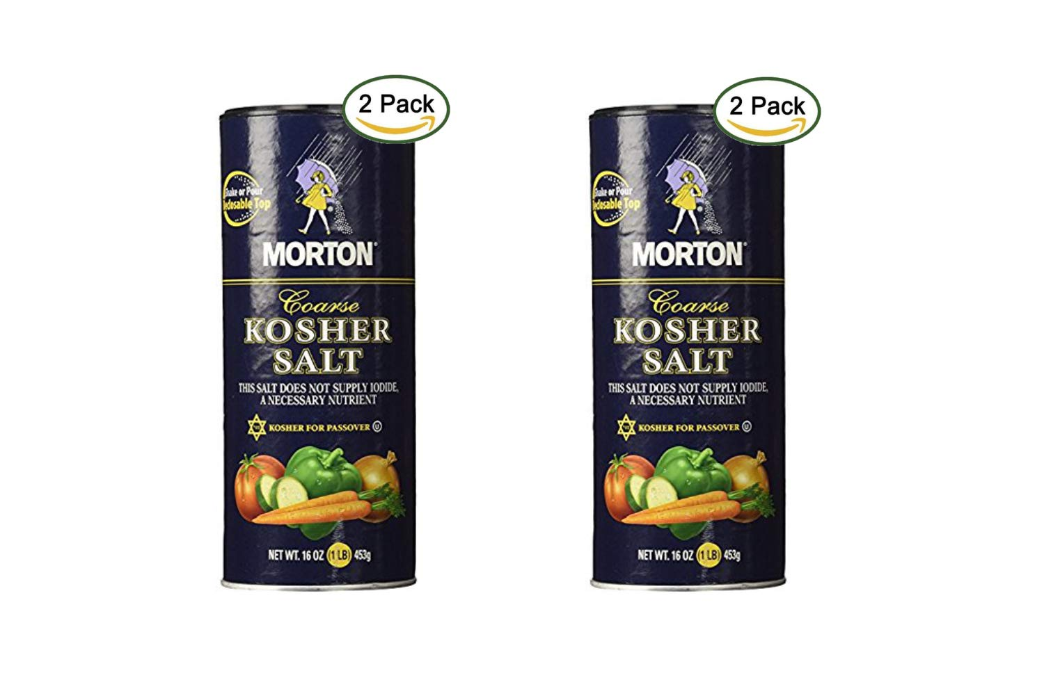 Morton Coarse Kosher Salt 16 oz. (Pack of 2) (2 Pack)