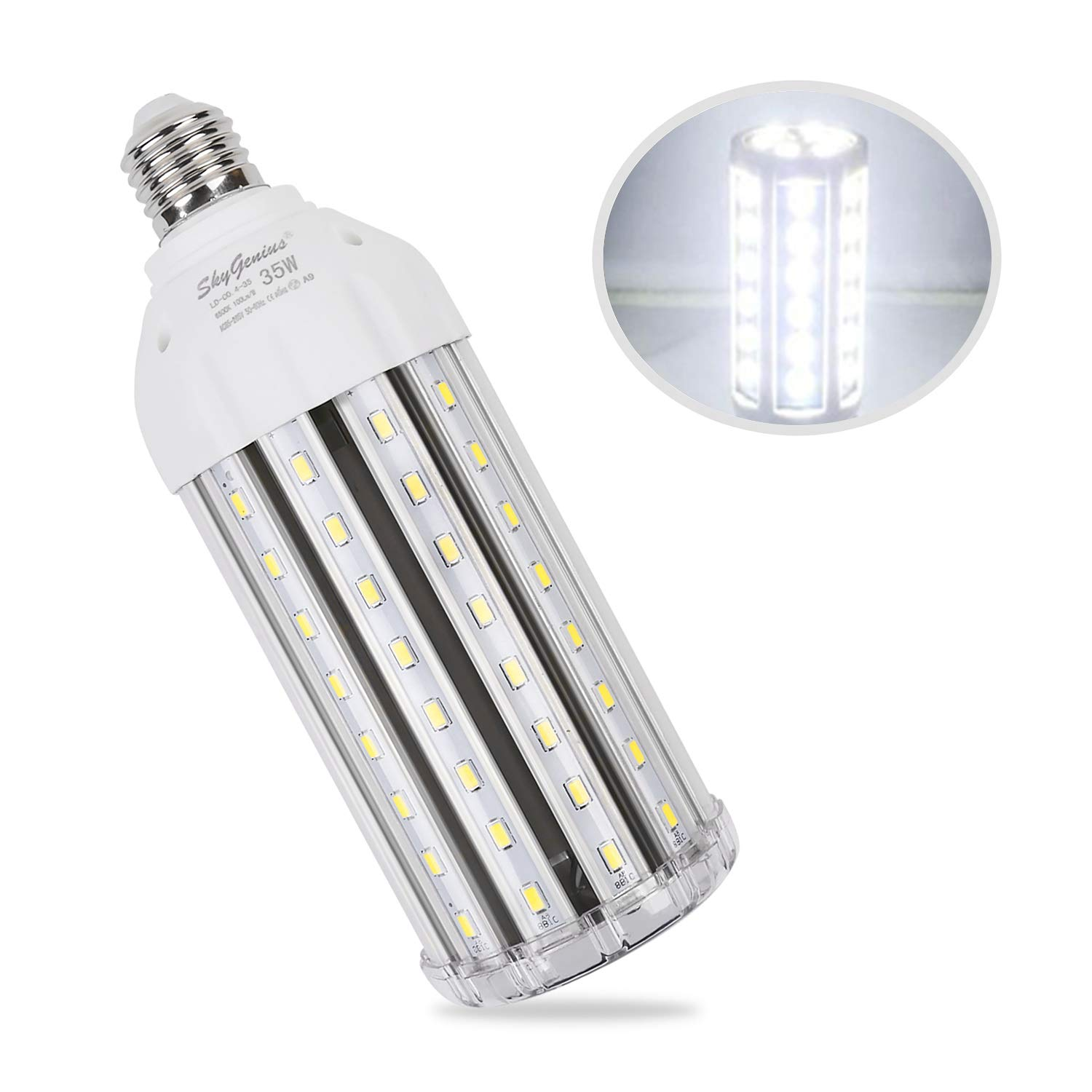 35W Daylight LED Corn Light Bulb for Indoor Outdoor Large Area - E26 3500Lm 6500K Cool White,for Street Lamp Post Lighting Garage Factory Warehouse High Bay Barn Porch Backyard Garden Super Bright