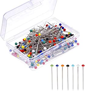 Sewing Pins,250 PCS Straight Pins 1.6 in Pearlized Ball Head Pins,Sewing Pins for Fabric DIY Sewing Pins Crafts,Assorted Colors