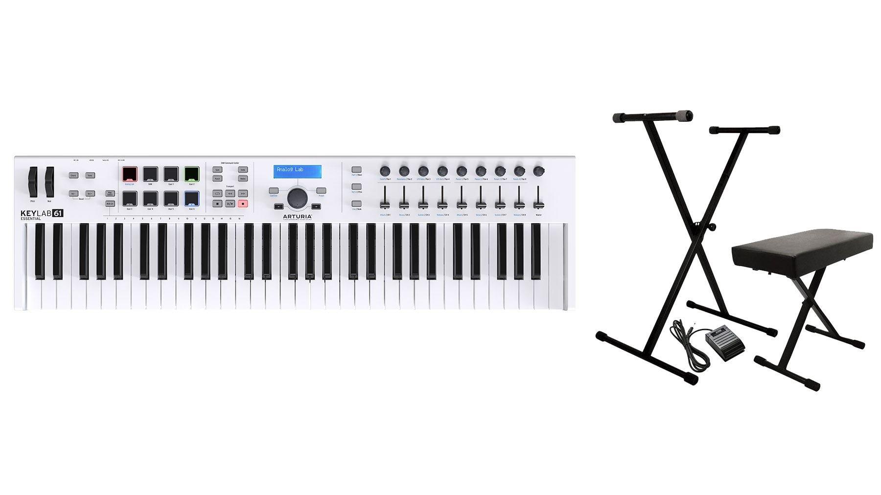 Arturia Keylab Essential 61 USB Keyboard Controller Bundle with Keyboard Stand, Stool, Sustain Pedal (2 Items)