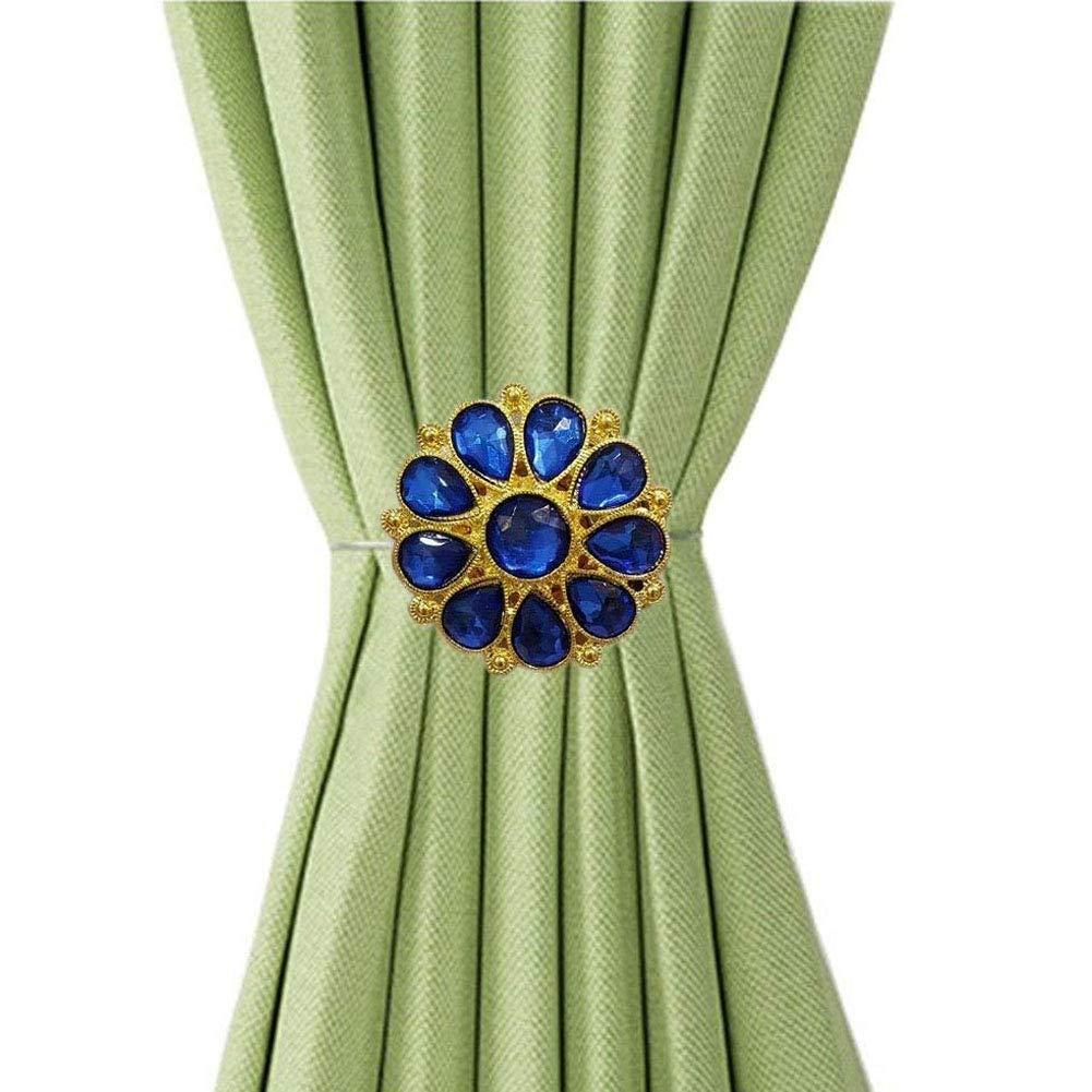 EleCharm Ayygift 1 Pair Blue crystal Flower Magnetic Curtain Tiebacks Curtain Buckle Holdbacks