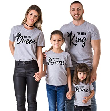 234fa2ed5b Simlehouse Summer Family Matching Outfits Father Mother Daughter Son Short  Sleeve T-Shirt King Queen Family Look at Amazon Women's Clothing store:
