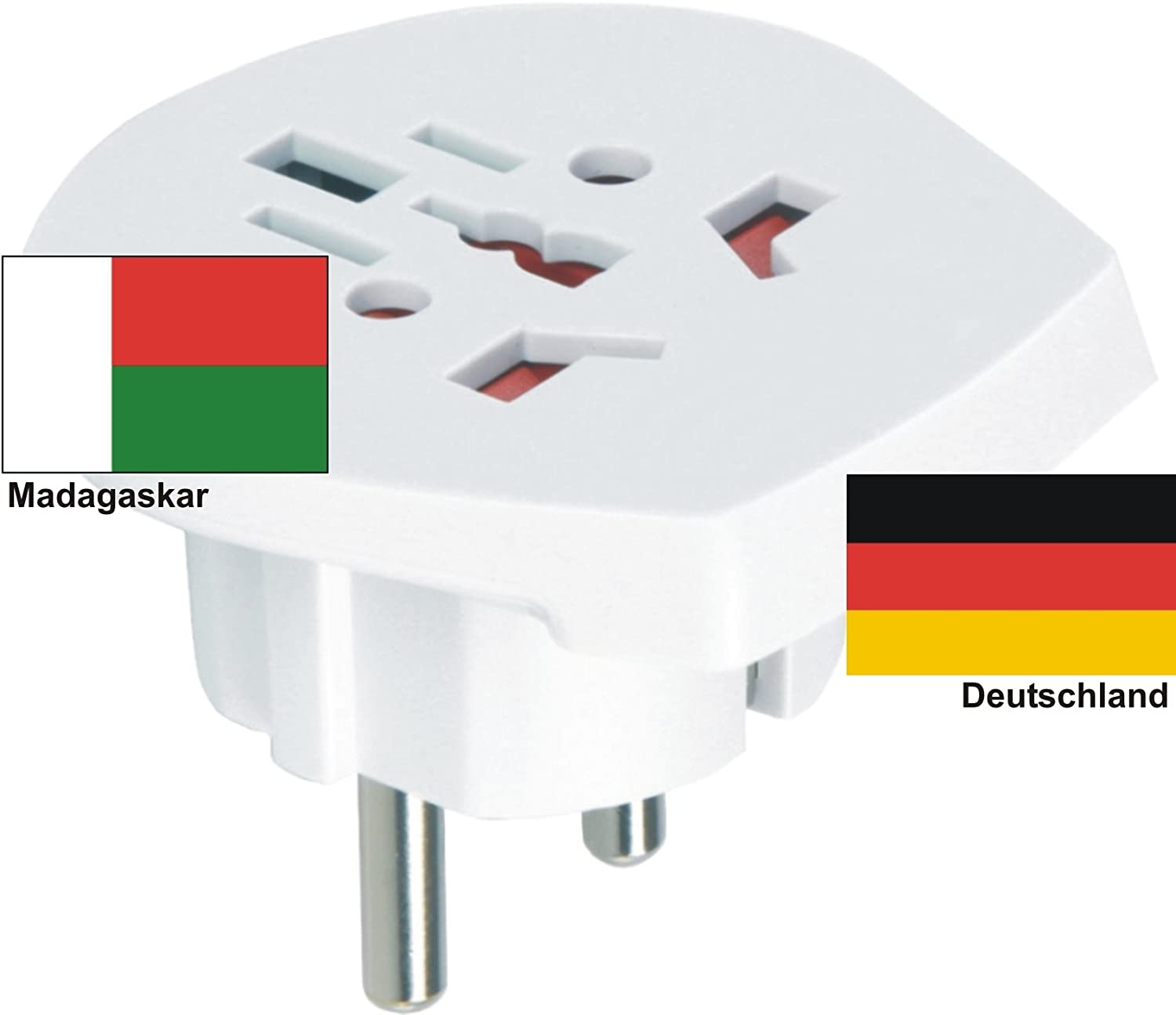 Design Travel Adapter MADAGASCAR International for Foreigners Connectors in D/EU Use SKROSS