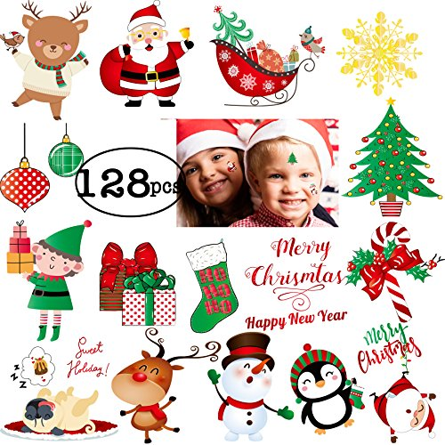 Holiday Tattoos - FRONT 128pcs Christmas New Year Tattoos for Kids Happy Holiday 2018 Temporary Stickers Happy New Year