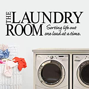 Laundry Room Wall Decals, Tuscom Funny The Laundry Room Sorting Life Out One Load at a Time Words Quote Wall Sticker, Peel and Stick Vinyl Wall Decor Letter Saying Mural Decals, 23.62