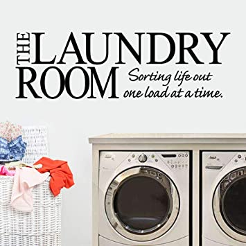 Laundry Room Wall Decals, Tuscom Funny The Laundry Room Sorting Life Out  One Load at a Time Words Quote Wall Sticker, Peel and Stick Vinyl Wall  Decor ...