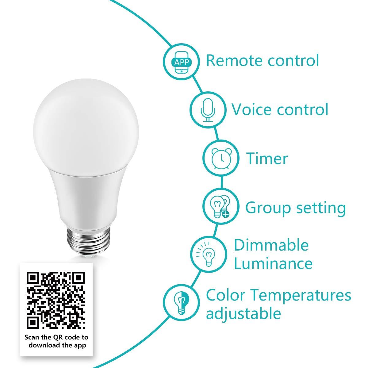 Konke Smart - Bombilla LED WiFi regulable, E27, 9 W, 800 lm, compatible con Alexa, Google Home, Asistente, no requiere buje, temperatura de color ajustable, ...