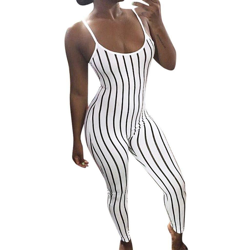 Tee Fun Jumpsuit Women Black White Jumpsuit Sleeveless Striped Print Sheathy Cami Jumpsuits Playsuits