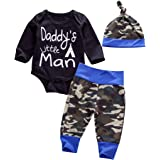 Newborn Daddy's Little Man Print Baby Boys Girls Romper +Camo Cotton Long Pants +Hat Outfit