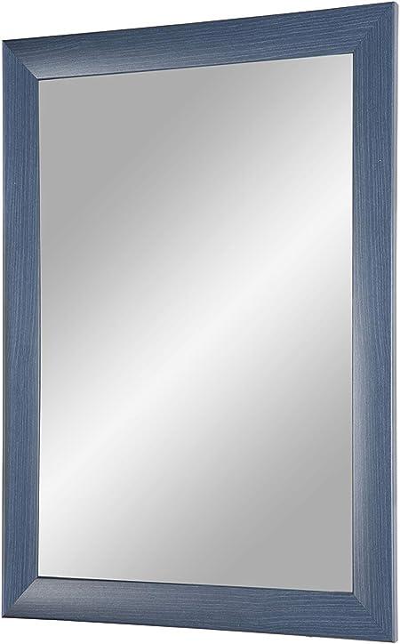miroir avec une barre de bois MDF Miroir mural 30x30 cm avec cadre Cadre de miroir sur mesure comprenant un miroir et une paroi arri/ère stable avec fixations Bleu Argent Or Flex 35