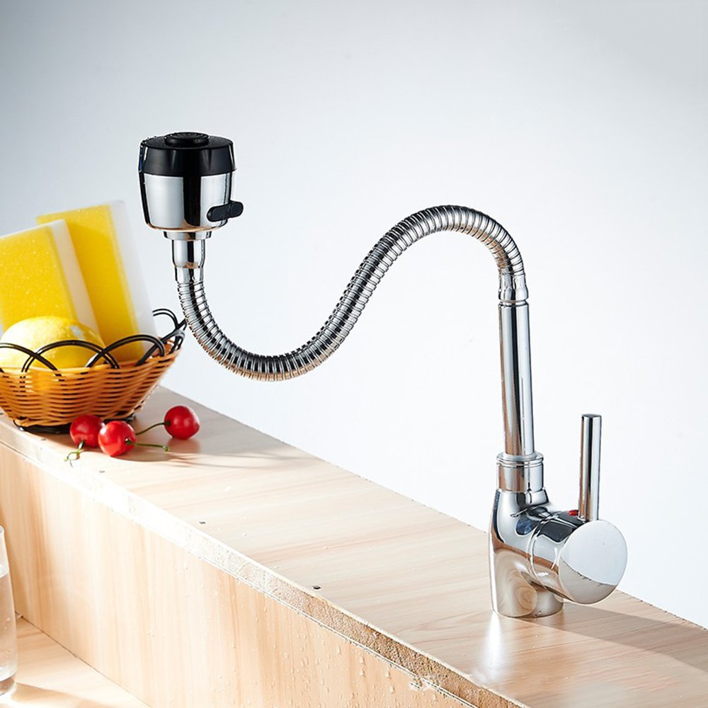 INCHANT Luxury pull down Kitchen Single Lever Brass Faucet Single hole Chrome Mixer Tap with Flexible 360 degree Swivel Spout, Dual Modes Sprayer