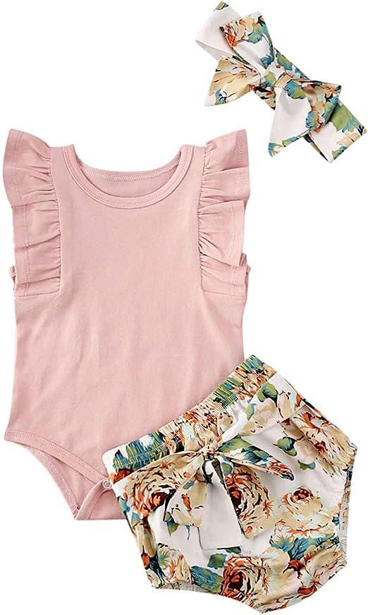 Headband Summer Clothes Infant Baby Girl Plain Ruffle Short Sleeve Cotton Romper Bodysuit Mermaid Shorts