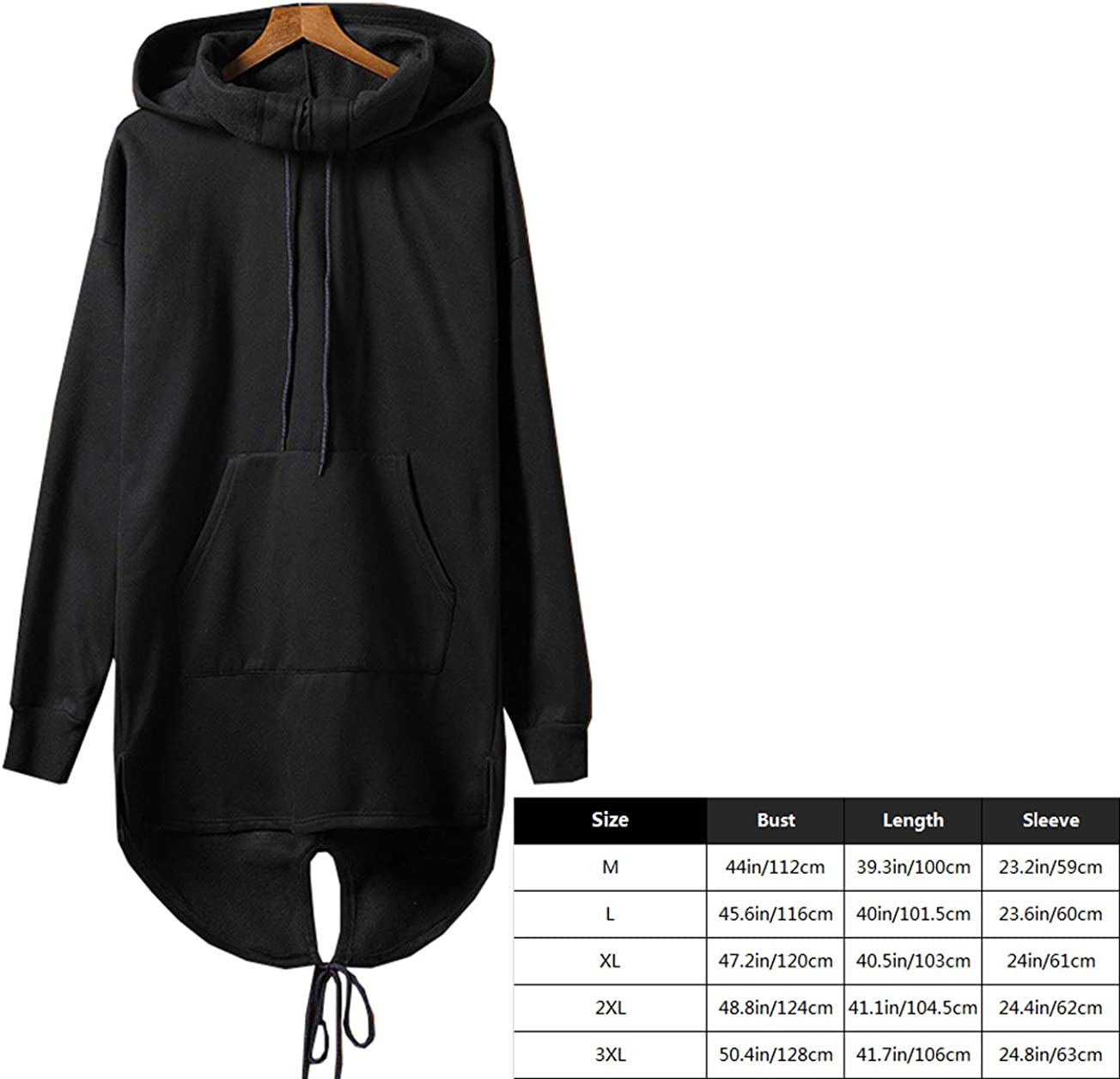 Black Punk Men Long-Hooded Cape Black Cardigan Hoodie