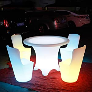 iver LED Luminous Table Waterproof Plastic Furniture Outdoor Furniture Living Room Garden Furniture Wireless Remote Control Charging Set