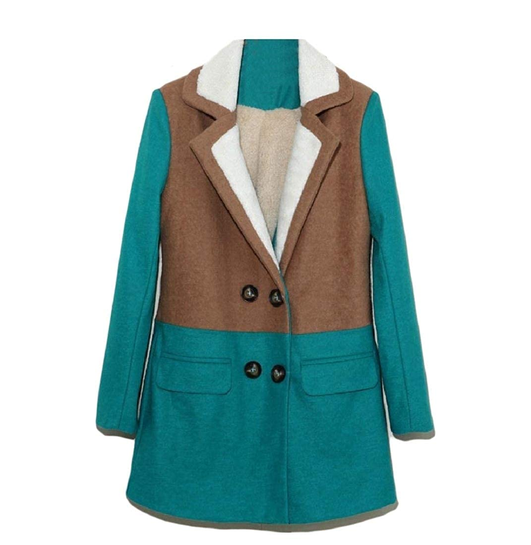 YUNY Womens Double Breasted Pea Coat Overcoat Thick Plus Velvet Outwear Dark Green L