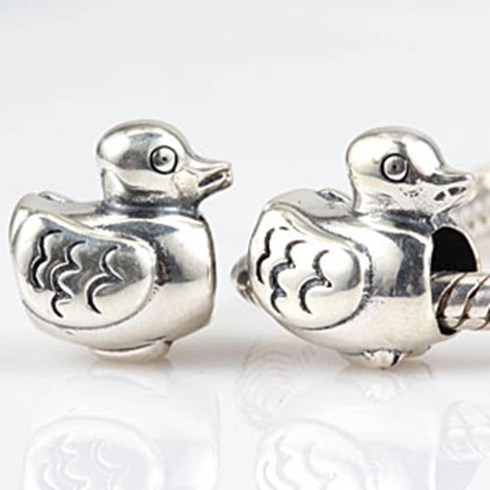 Plata de Ley 925/Cartoon Cute pato encanto Animal Bead mascota encanto para pulsera Europea