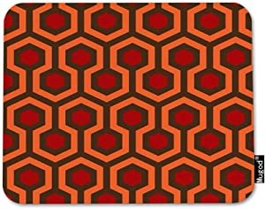 Mugod Hexagon Pattern Mouse Pad Geometric Trellis Polygon Red Orange Dark Brown Mouse Mat Non-Slip Rubber Base Mousepad for Computer Laptop PC Gaming Working Office & Home 9.5x7.9 Inch