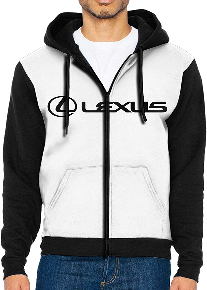 Hengteng Men Lexus Logo Hooded Pocket Long Sleeves Zipper Hoodie