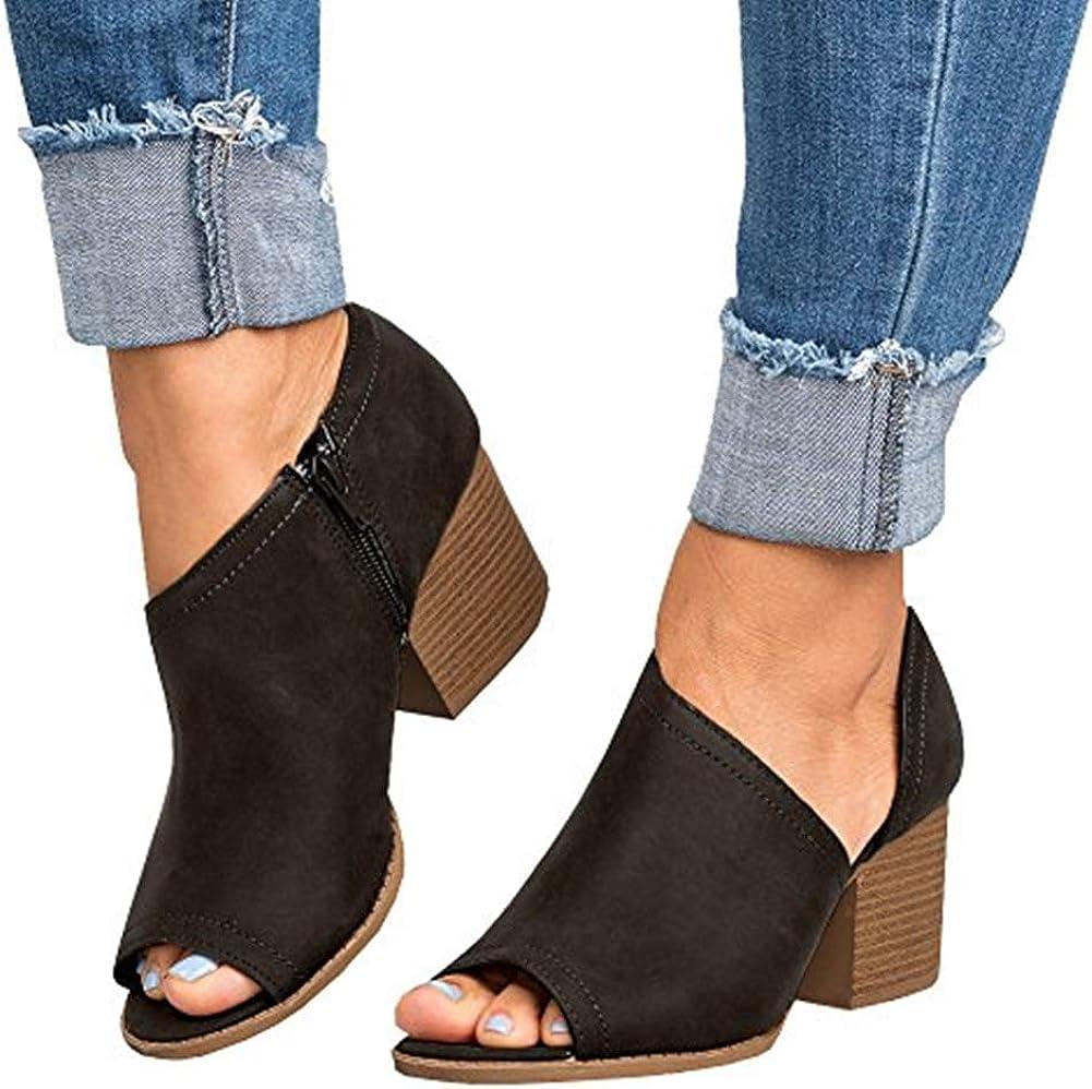Women Low Heel Ankle Booties Slip On