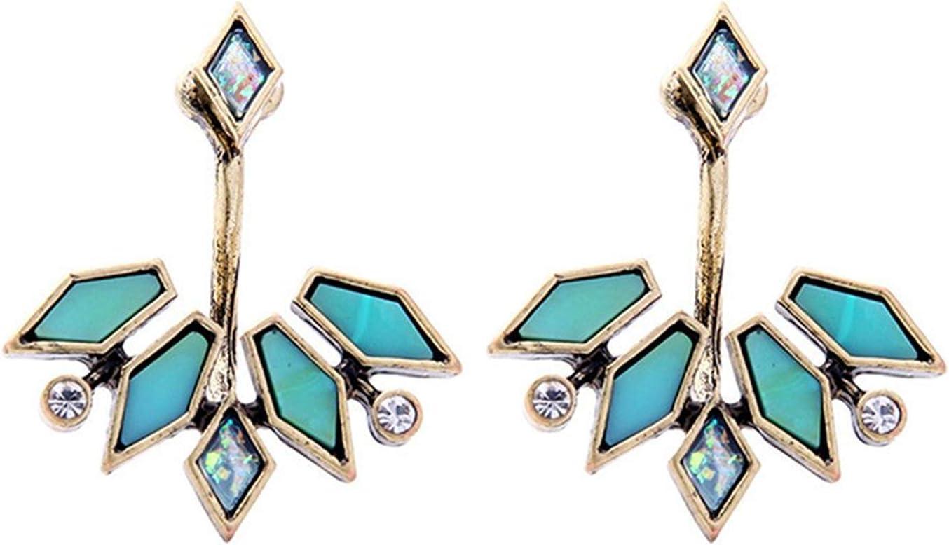 Katylen Earring Popular en Joyería Vintage, Piedras Preciosas y Diamantes Desmontables, Pendientes Elegantes de niña de aleación, Pendientes niña, Verde