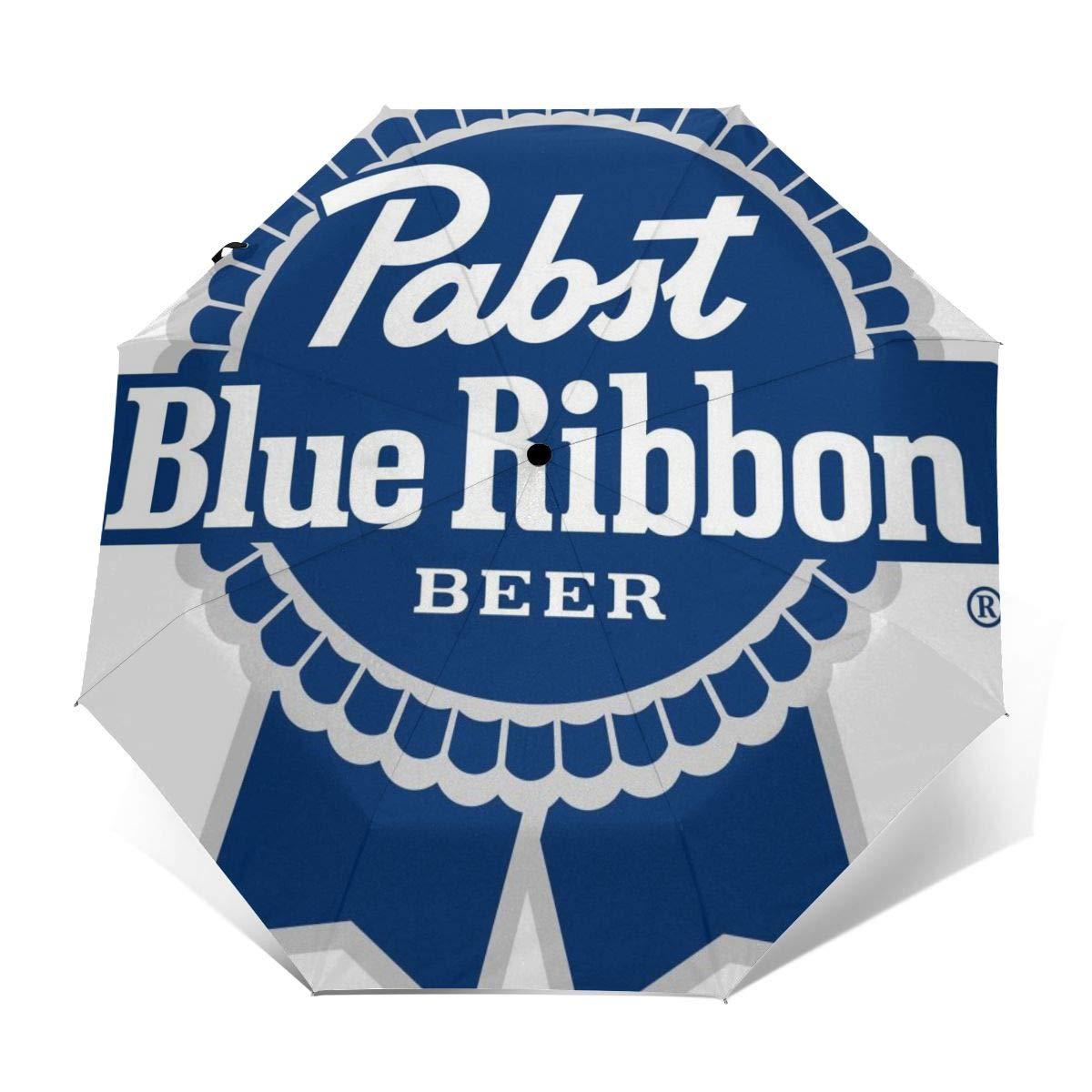Pabst Blue Ribbon Travel Sun Rain Windproof Folding Umbrellas UV Protection