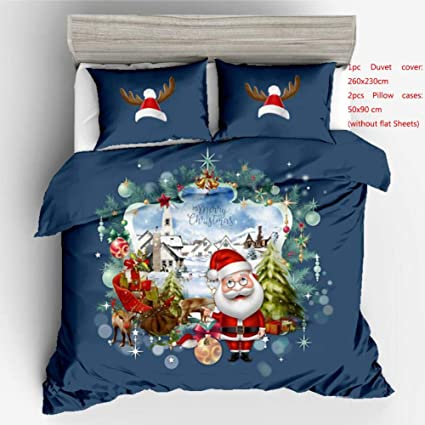Lenzuola Matrimoniali Di Natale.Set Copripiumino Matrimoniale Cotone Merry Christmas Bedding 3d