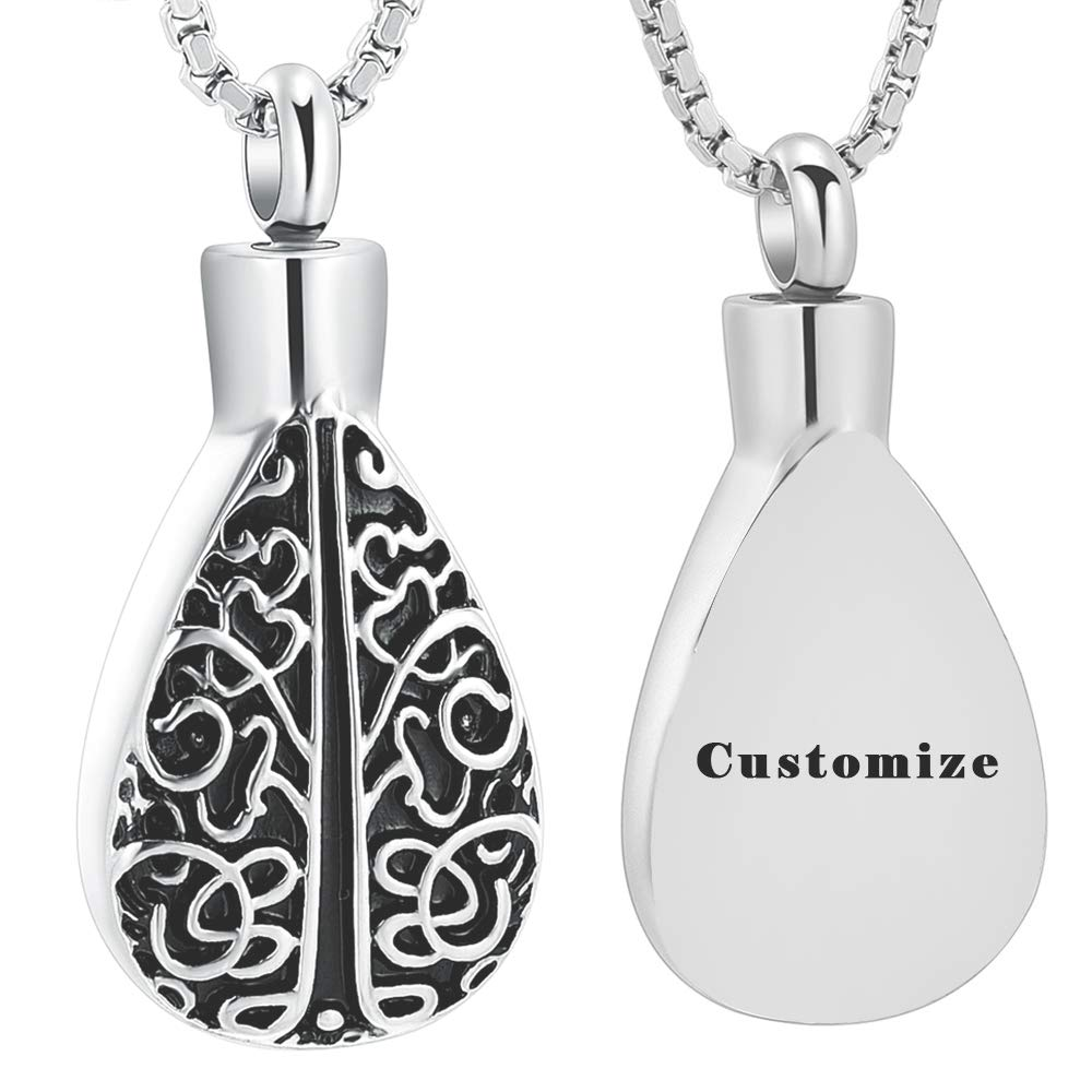 mingkejw Teardrop Cremation Jewelry for Ashes Tree of Life Memorial Lockets Urn Pendant Ashes Necklace Stainless Steel Keepsake Jewelry
