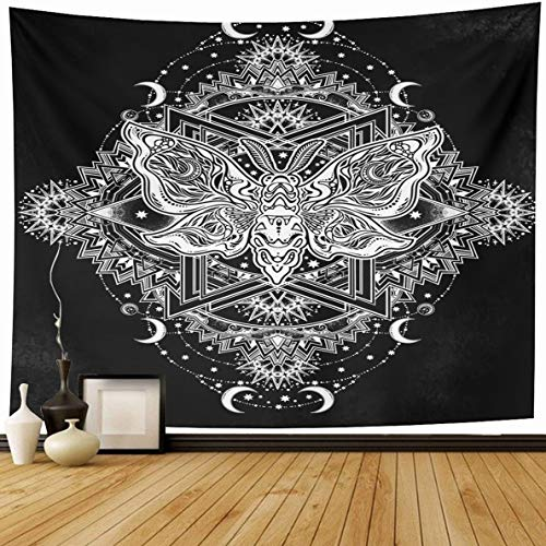 (Ahawoso Tapestry 80 x 60 Inches Flower Bead Ornate Floral Butterflies Moths Chalkboard Fantasy Alchemy Boho Design Home Decor Wall Hanging Print for Living Room Bedroom Dorm)