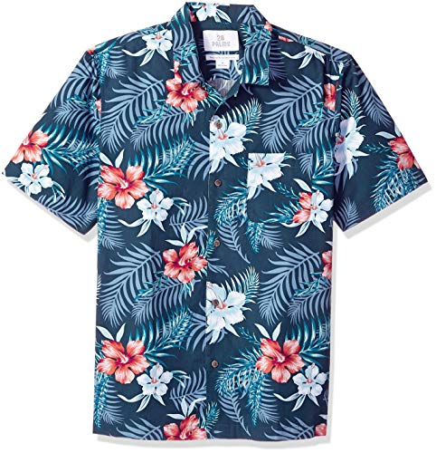 28 Palms Men's Relaxed-Fit 100% Cotton Tropical Hawaiian