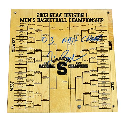 Jim Boeheim Signed Syracuse Basketball Engraved 12x12 Bracket w/ 03 National Champs Insc