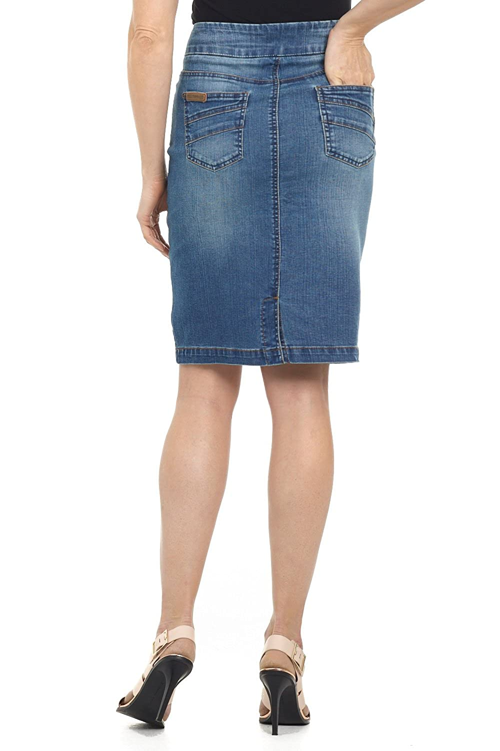 8feedf2a6149 Rekucci Jeans Women's Ease in to Comfort Fit Pull-on Stretch Denim Skirt at  Amazon Women's Clothing store: