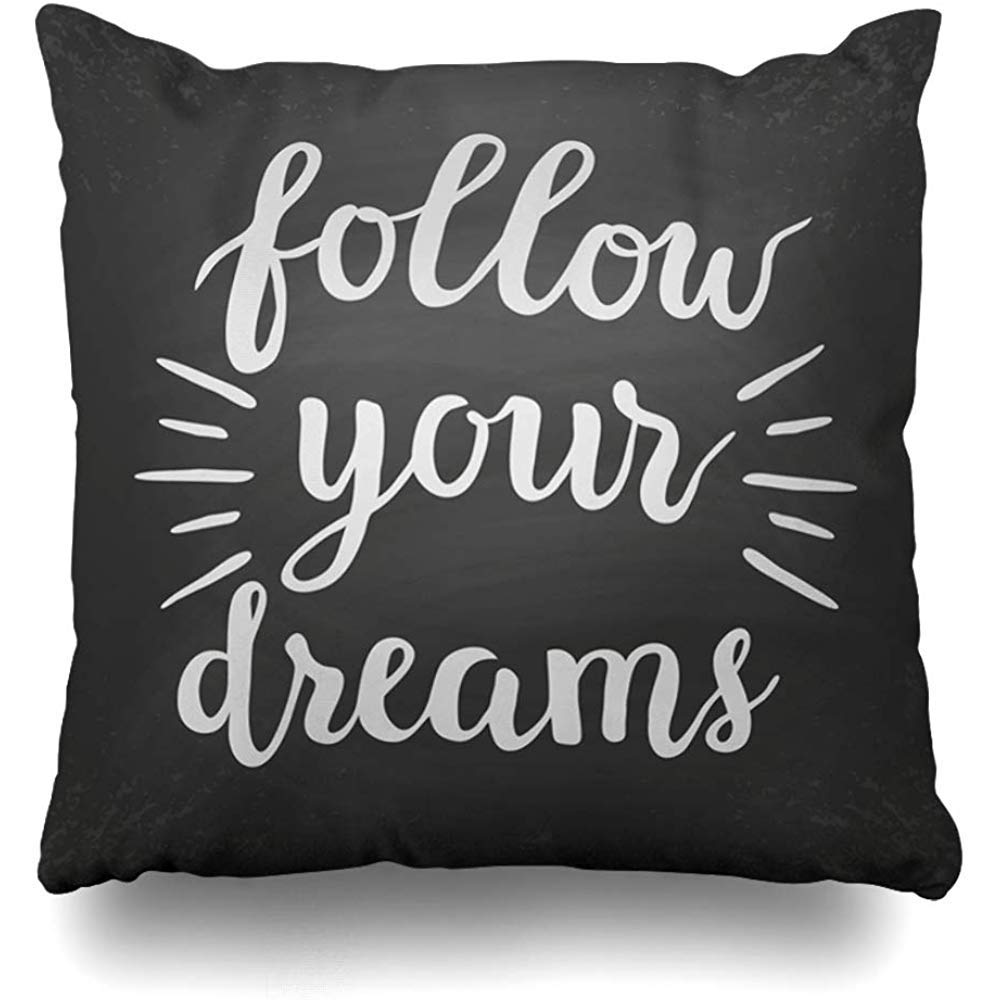 Inspirational Quote on Cushion Follow Your Dreams with Butterflies