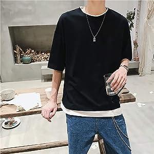 夏服 メンズ 無地 軽い 柔らかい メンズ Tシャツ 半袖 綿 ファッション 人気 快適 メンズ トップス