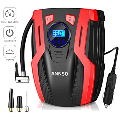 ANNSO Air Compressor Tire Inflator,Car Tire Pump Air Pump for Car Tires, 12v Digital Car Tire Inflator with Gauge LED Light,150 PSI Portable Air Compressor for Car Tires Other Inflatables: Automotive