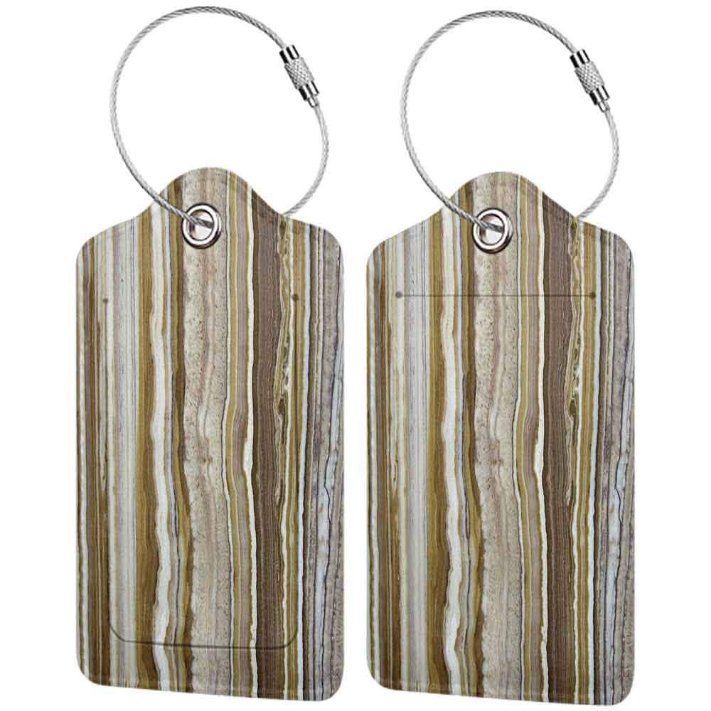 Soft luggage tag Apartment Decor Onyx Marble Rock Themed Vertical Lines and Blurry Stripes in Earth Color Bendable Mustard Brown W2.7 x L4.6
