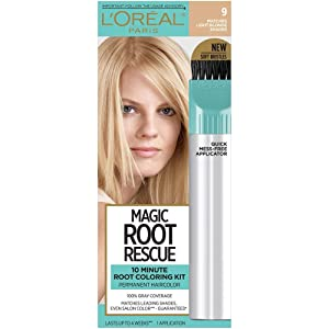 L'Oreal Paris Magic Root Rescue 10 Minute Root Hair Coloring Kit, Permanent Hair Color with Quick Precision Applicator, 100% Gray Coverage, 9 Light Blonde, 1 kit (Packaging May Vary)
