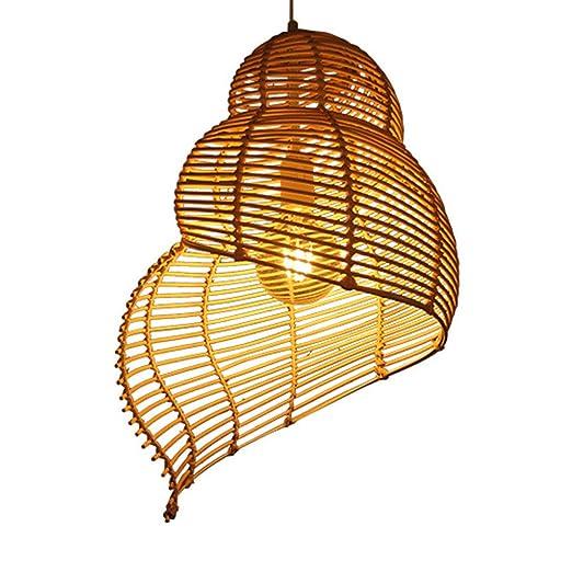 Conch lámpara colgante natural rota mano tejer mimbre rural ...