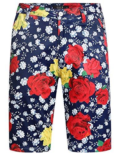 SSLR Men's Roses Regular Fit Flat Front Casual Hawaiian Shorts (36, Dark Blue)