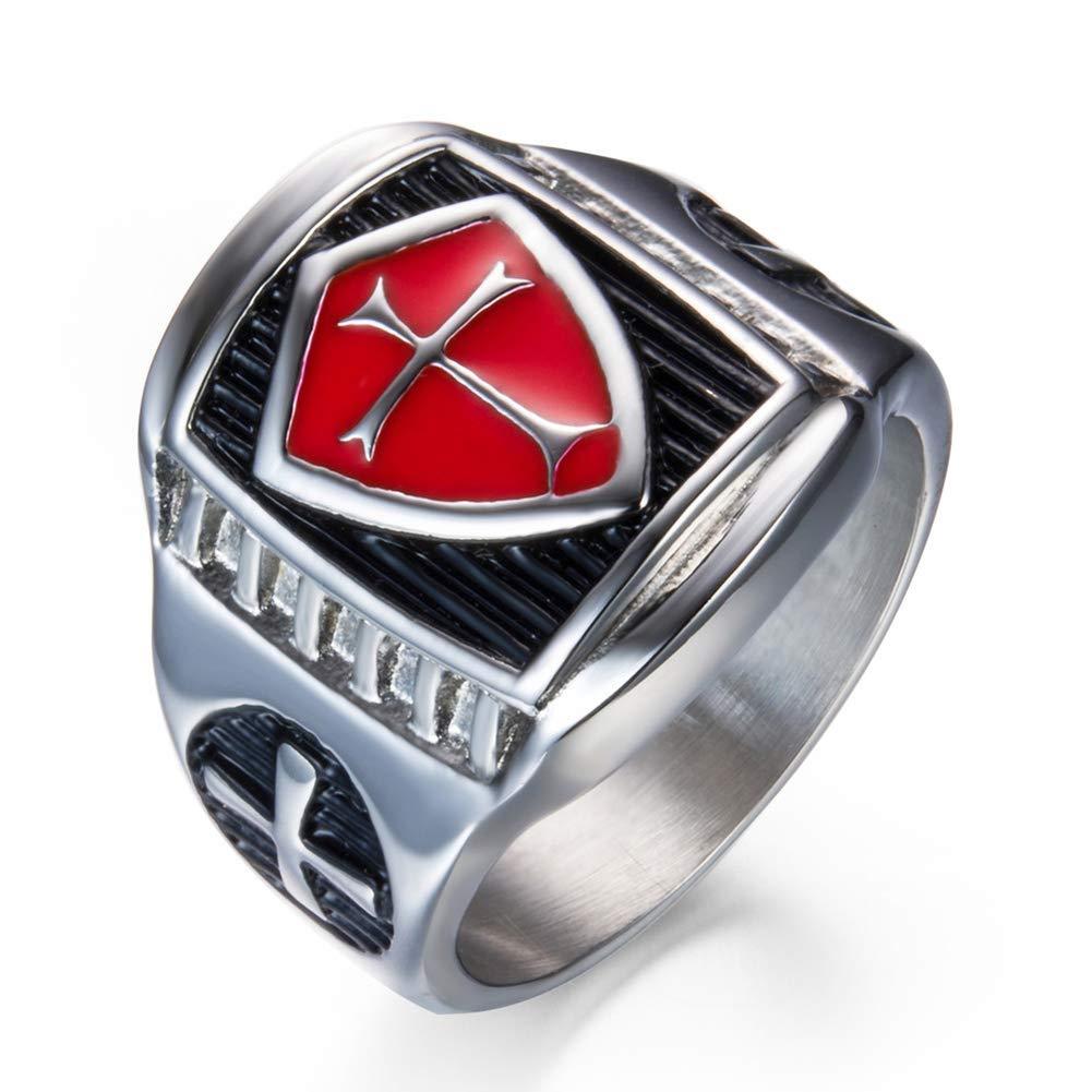 Hombres de acero inoxidable rojo y plata cristiana Santa Cruz anillo de oració n tamañ o 7-14 FUVOYA