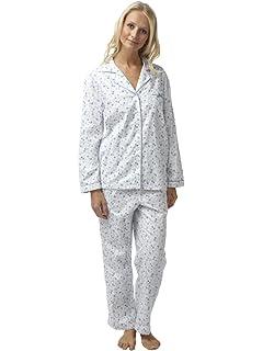 SaneShoppe - Pijama - Floral - con botones - Manga Larga - para mujer
