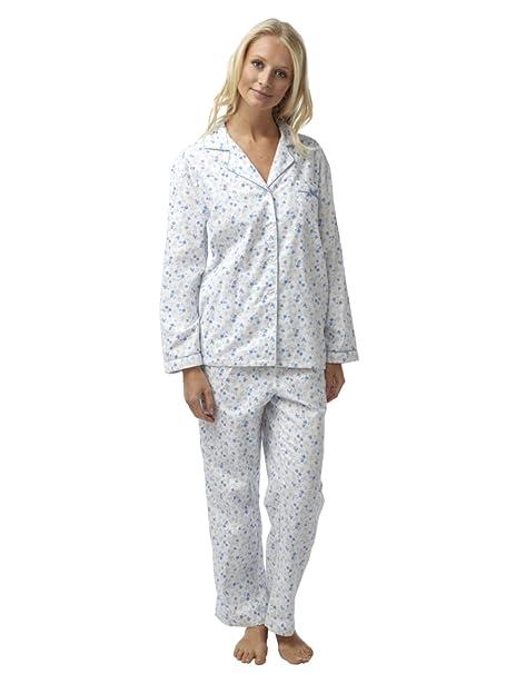 SaneShoppe - Pijama - Floral - con botones - Manga Larga - para mujer multicolor White