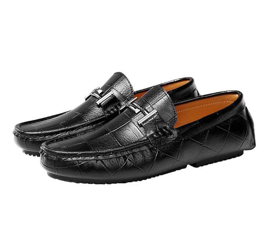 Mocasines para Hombres-Zapatos para embarcaciones-Zapatos de conducción deslizantes-Zapatos de Guisantes-Bajos para Ayudar a los Zapatos Planos 41 EU|Negro