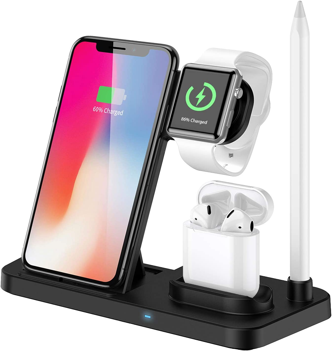 Wireless Charger, 4 in 1 Charging Station, Wireless Charging Stand Dock Charger Pad Compatible with Apple Watch and iPhone Airpod iPhone X/XS/XR/Xs Max/8 Plus iWatch Airpods,Samsung. (Black)