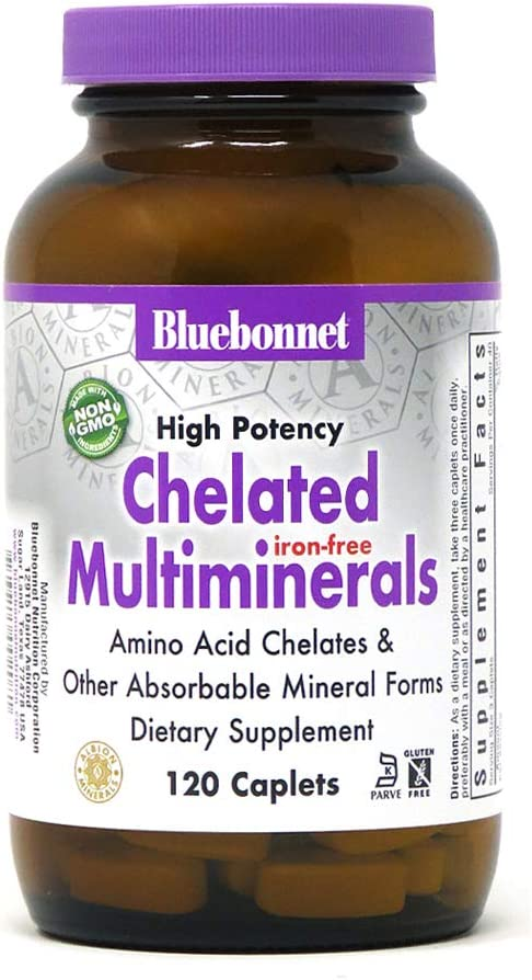 Bluebonnet Nutrition High Potency Chelated Multiminerals (Iron-Free) Caplets, 120 Count: Health & Personal Care