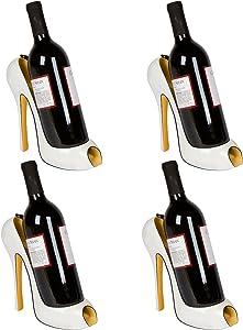 "Hilarious Home 8"" x 7""H High Heel Wine Bottle Holder - Stylish Conversation Starter Wine Rack (White Flower, Set of 4)"