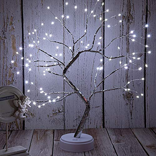 FuChsun Bonsai Tree Light 108 LED White Shimmer Silver Branches Battery and USB Operated (White Glow Silver Branch) (Lighted Branches Silver)