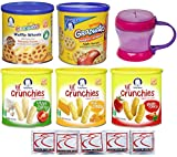 Gerber Graduates Baby Food Snacks - Lil Crunchies and Gerber Waffle and Wagon Wheels Variety Pack with Carrying Cup - Bundle of 5 Flavors