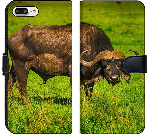 Apple iPhone 7 Plus and iPhone 8 Plus Flip Fabric Wallet Case Male Cape Buffalos Standing in Short Grass Image 34700099 Customized Tablemats Stain Re ()