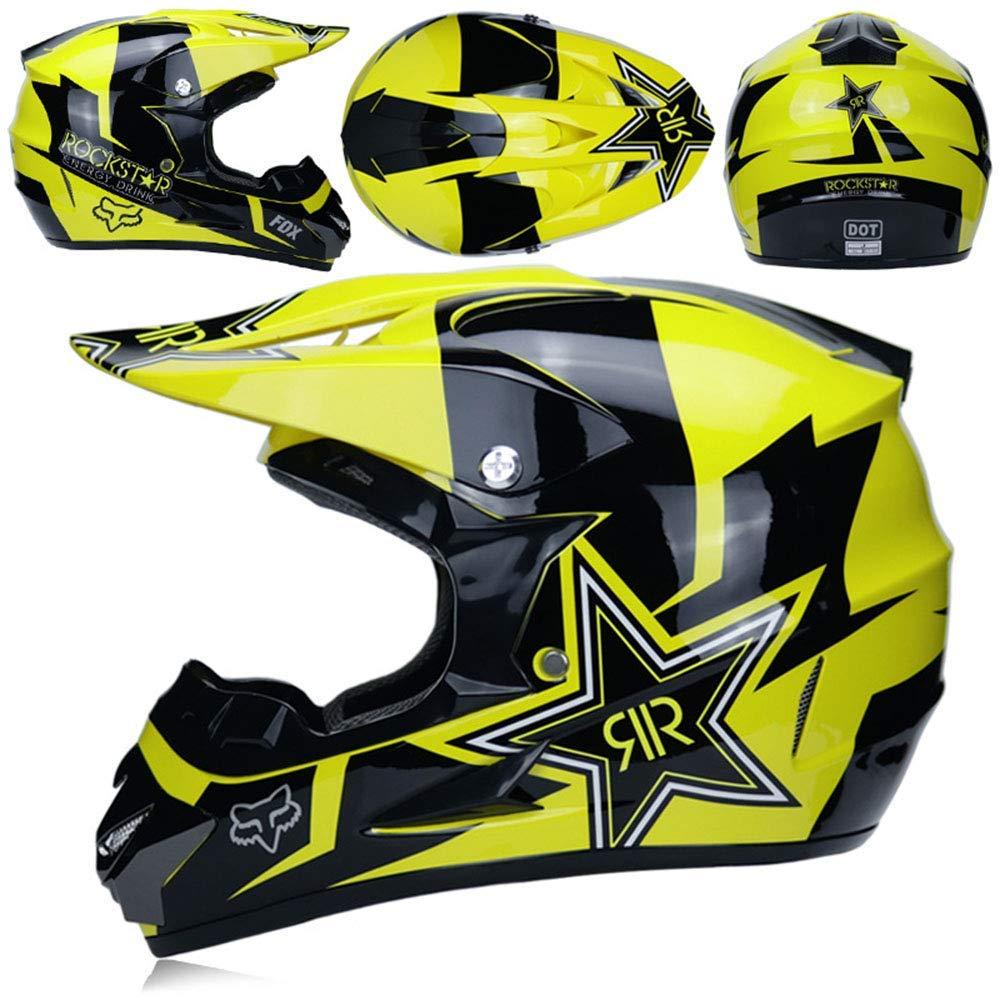 MX Casco de motocicleta ZOLOP Adultos de Motocross para certificada D.O.T Blanco, S Kit de casco Gafas M/áscara de guantes ATV Scooter ATV MOTO