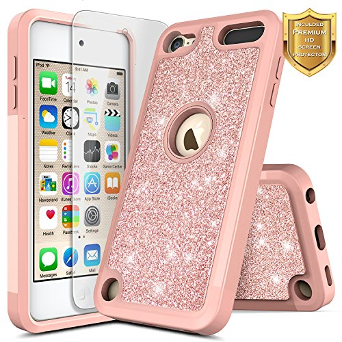 (iPod 5 / iPod 6 / iPod 7 Case, iPod Touch 5th / 6th / 7th Generation Case with Screen Protector for Girls Kids Women, NageBee Glitter Shiny Sparkle Heavy Duty Shockproof Cute Cover Case -Rose Gold)